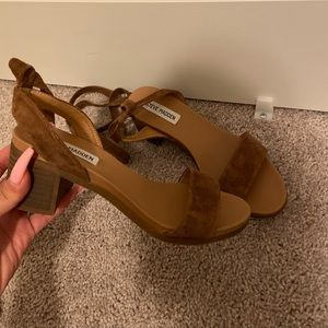 Cognac cute strap up heel